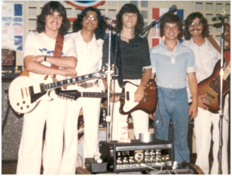 BLUE HORIZON 1975: Left to right: Kelly Murphy – Lead Guitar and vocals, Mike Vargason – Lead vocals and Percussion, Terry Wheeler – Lead Guitar and Lead Vocals, Tom Kammer – Drums and Vocals, Rob Tatro – Bass Guitar and Vocals
